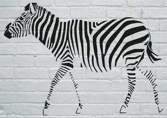Obraz na Szkle Zebry Art urbain, Zèbre