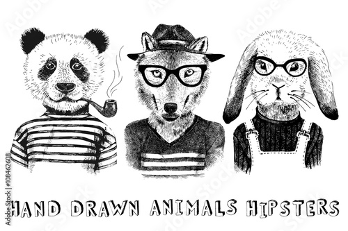 Hand drawn dressed up animals in hipster style