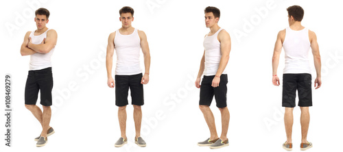 Muscular man in shorts isolated on white