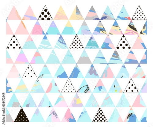 Seamless colorful pattern with geometric shapes.