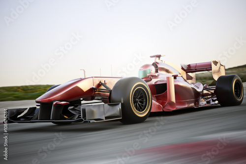 In de dag F1 Motor sports race car side angled view speeding down a track with motion blur. Photo realistic 3d scene with room for text or copy space