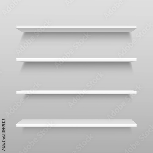 Fotografía  Vector White Empty Shelf Shelves Isolated on Wall Background