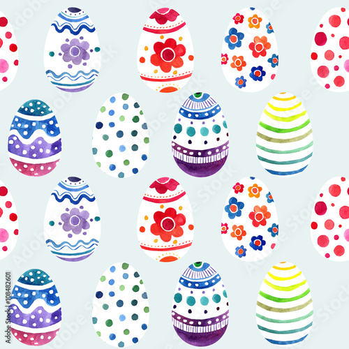 Cotton fabric seamless ornament from painted eggs