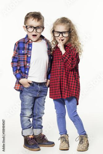 de2ebcfc6743 Funny lovely children. fashionable little boy and girl in glasses ...