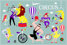 Vintage Circus Collection Of Beautifulll Vector Icons And Illustrations With Strong Man Lion Trainer Animals Monkey Parrot Dog Trainer Baloon And Acrobat. .Circus Performance Decorative Icons Set