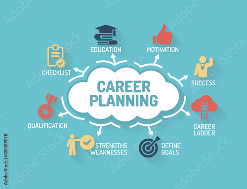 Fotografiet  Career Planning - Chart with keywords and icons - Flat Design