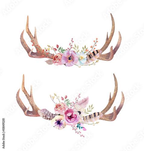 Watercolor bohemian deer horns. Western mammals. Watercolour hip Wall mural