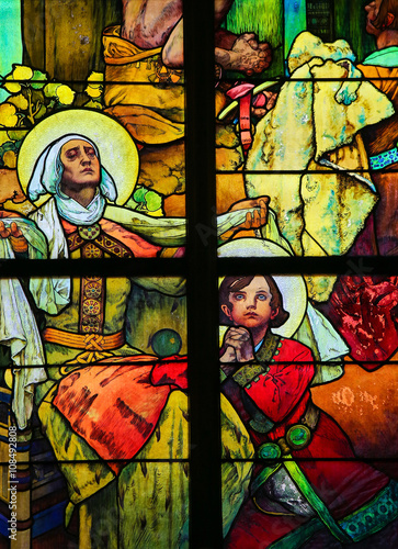Photo  Stained Glass in Prague Cathedral by Alphonse Mucha