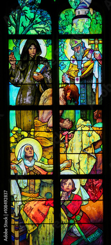 Stained Glass in Prague Cathedral by Alphonse Mucha Tableau sur Toile