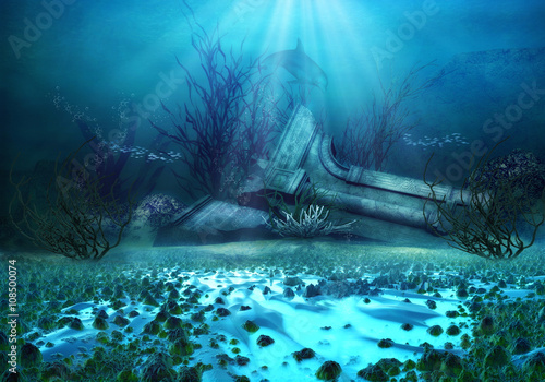 Aluminium Prints Blue 3D Rendered Underwater Fantasy Landscape