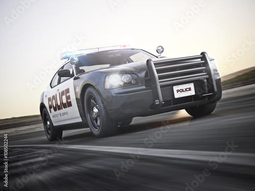 Policja odpowiada na wezwanie z pełną gamą świateł. 3d rendering