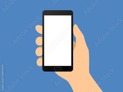 Fotografering  Human hand holding smartphone / smart phone flat vector illustration