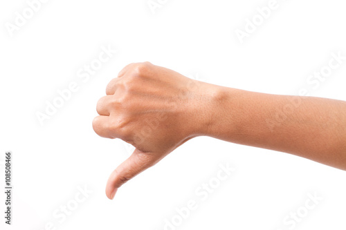 Fototapeta hand with thumb down gesture, isolated obraz