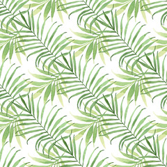 Fototapeta Tropical seamless pattern with leaves. Watercolor background with tropical leaves.