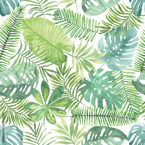 Tropical seamless pattern with leaves. Watercolor background with tropical leaves. Wall mural