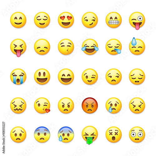 Photo  Set of emoticons, emoji isolated on