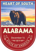 Алабама, эмблема штата США, черный медведь на рассвете на темном фоне