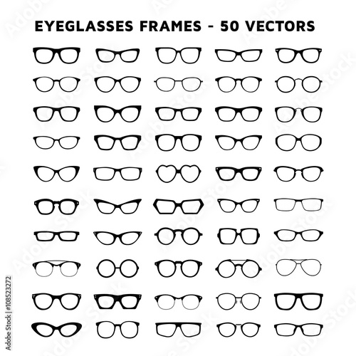Fotomural  Set of glasses. Sunglasses and eyeglasses vector design icons
