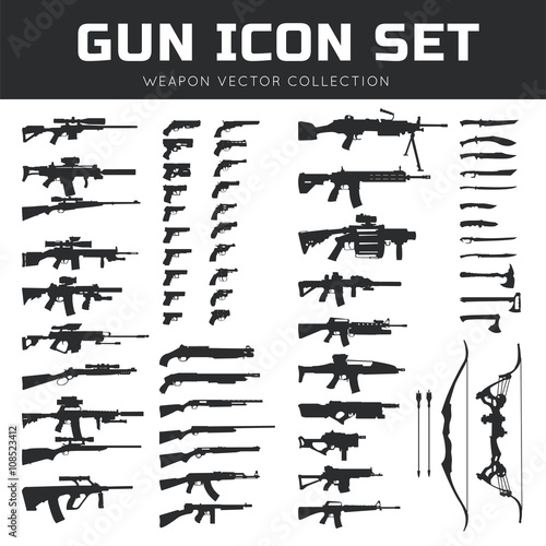 Gun icon set. Weapon vector collection,Pistol icon. gun logo. gun vector element.