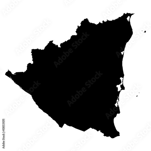 Photo Nicaragua black map on white background vector