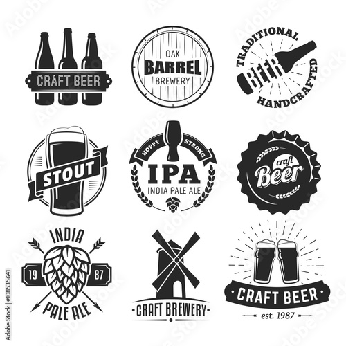 Vector craft beer badges фототапет