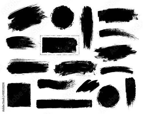 Set of black paint, ink brush strokes. Fototapet