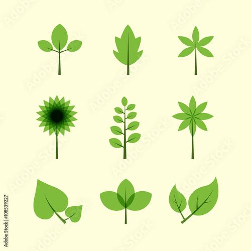 Fototapeta Vector of leaves icons obraz na płótnie