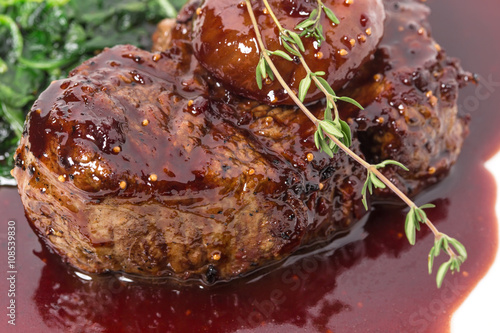Delicious fillet mignon steak with chard. Wallpaper Mural