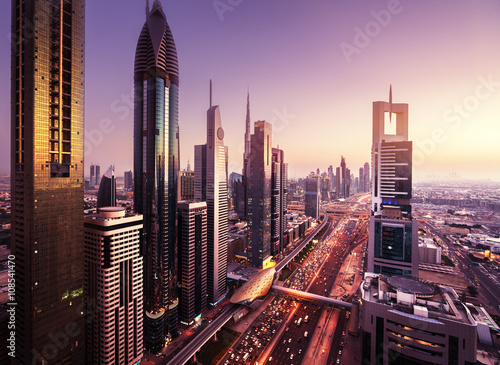 Foto op Aluminium Dubai Dubai skyline in sunset time, United Arab Emirates