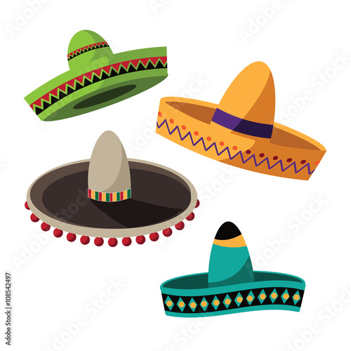 Fotografie, Obraz  Cinco De Mayo (Mexican holiday celebrating the fifth of May) sombrero flat design