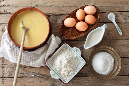 Fotografie, Tablou Custard Cream Ingredients