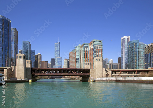 Poster Australie River view of Chicago