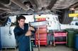 Mechanic servicing a car