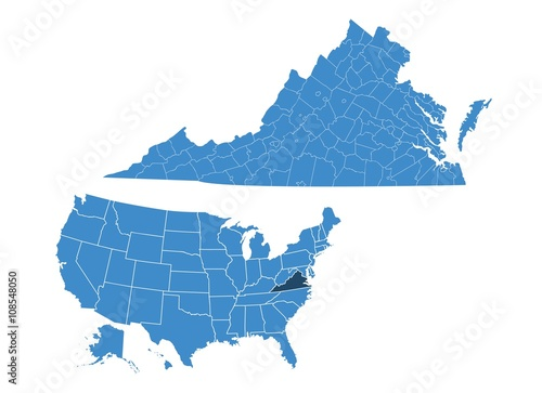 Valokuva  Virginia state map
