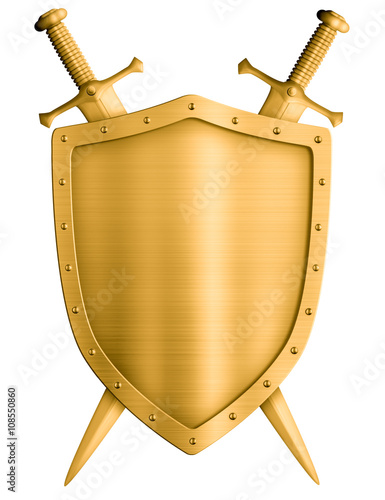 Obraz na plátně gold medieval knight shield and crossed swords isolated