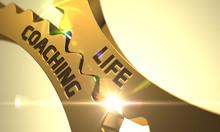 Life Coaching On The Mechanism Of Golden Metallic Cogwheels. Life Coaching - Concept. Life Coaching On Mechanism Of Golden Gears With Glow Effect. 3D Render.