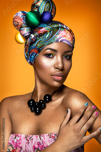 Fotografie, Obraz  Beautiful woman colorful portrait
