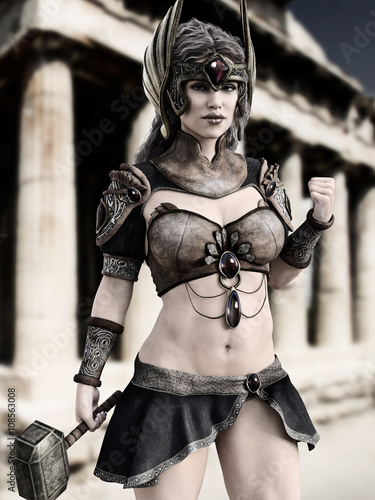 Fotografie, Obraz  Female Goddess of war posing in front of Greek architecture with black and white tint