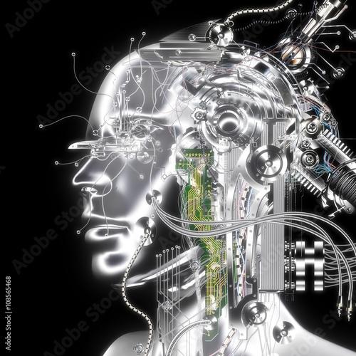 Fotografie, Obraz  3D Illustration; 3D Rendering of a Cyborg