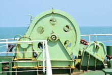 Winch With Rope On The Ferry.