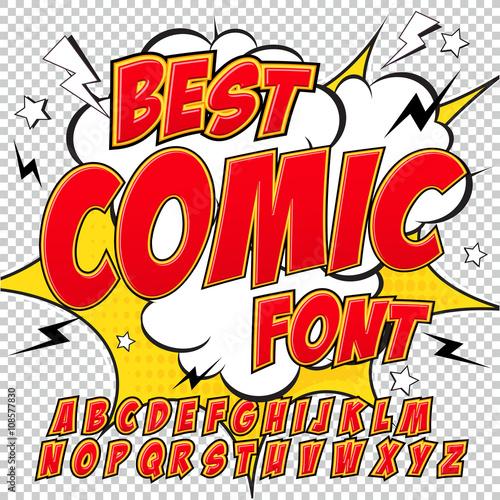 Zdjęcie XXL Komiks kreatywny o wysokiej szczegółowości. Alfabet w czerwonym stylu komiksów, pop-art.