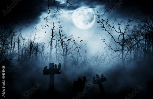 graveyard silhouette halloween  Abstract Background. Canvas Print