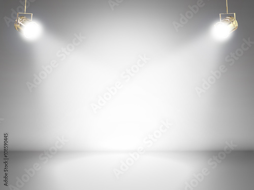 Poster Licht, schaduw blank stage with shining lights