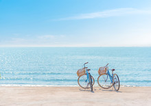Bike On The Seaside,Two Bicycle On The Beach