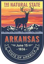 Арканзас, эмблема штата США, олень на закате на синем фоне