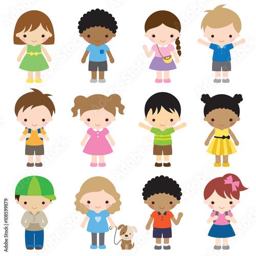 ilustracja-dzieci-w-roznych-ubraniach-i-pozycjach