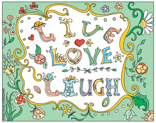 Photo  Decorative multicolor  poster live love laugh