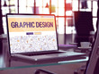 Modern Workplace with Laptop Showing Landing Page in Doodle Design Style with Text Graphic Design. Toned Image with Selective Focus. 3D Render.