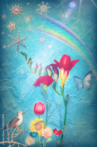 Foto auf Gartenposter Phantasie Colorful flowers of spring in the blue background