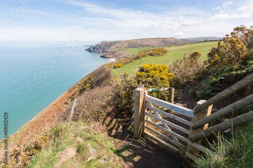 Foto auf Gartenposter Kuste Wooden gate leading onto the Cardigan Bay Coastal Path. Penbryn